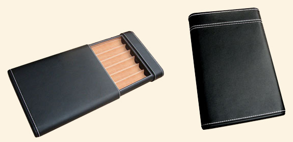 Leather Cigar Travel Cigar Case...6 Ct..